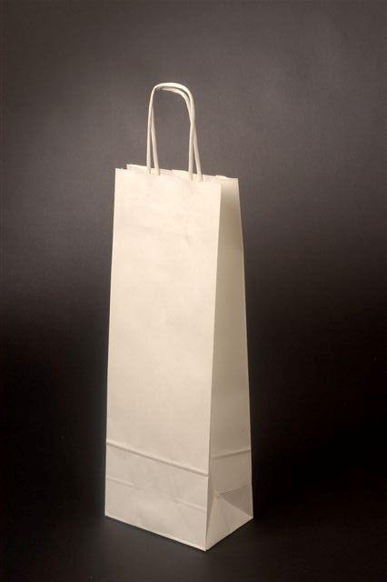 Papírové tašky o rozměru<br> 150 x 80 x 400 mm, bílá